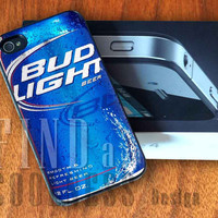 Bud Light Can Beer - Print Custom Case - Rubber or Plastic - iPhone 4 or 4s / 5, Samsung S3 / S4, iPod 4 /5