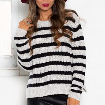 Breakdown Knit Sweater in Beige Stripe