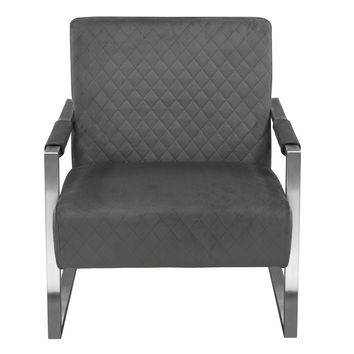 Studio Accent Chair in Dusk Grey Diamond Tuft Velvet Fabric with Brushed Stainless Steel Frame