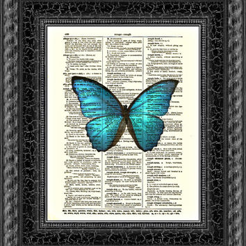 Blue Butterfly Art Print, Dictionary Page Art, Dictionary Art Print, Wall Decor