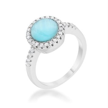 Patricia 0.3ct CZ Blue Cat's Eye Rhodium Classic Ring, Size 5