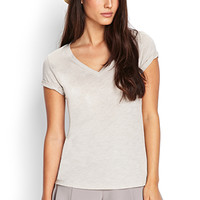 LOVE 21 Everyday V-Neck Top Grey