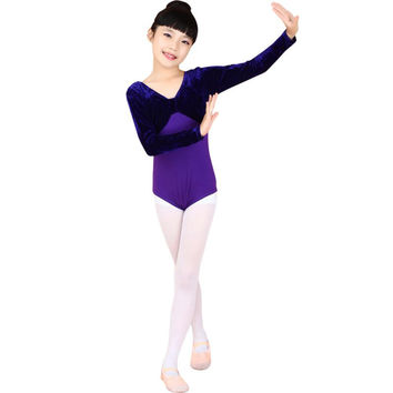Dance Costumes Kids Girls Long Sleeve Ballet Gymnastics Bodysuit Dance Leotard Cotton Costumes