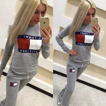 """Tommy Jeans"" Women Casual Multicolor Letter Pattern Print Long Sleeve Trousers Set Two-Piece Sportswear"