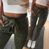 New 2018 fashion winter women suede pants style ladies Leather bottoms female trouser Casual pencil pants high waist trousers