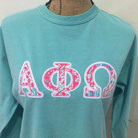 Lilly Pulitzer GREEK LETTER Appliqué - Note the style of lettets - these letters are thinner, but more cutout   Some girls prefer this style