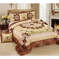 Tache 6 Piece Autumn Royal Bouquet Floral Patchwork Comforter Set (MZ1265)