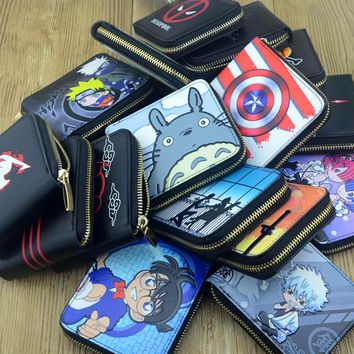 Anime Cartoon Totoro/One Piece/Fairy Tail /Black Butler/Rem Wallet girl Card Id Holders Zipper Wallet
