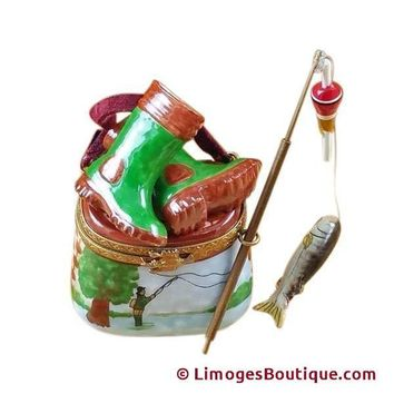 FISHERMAN BOOTS ON CREEL LIMOGES BOX