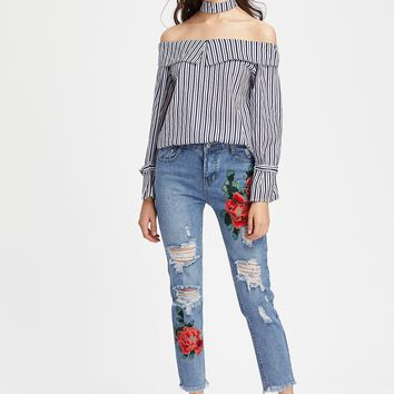 High Rise Embroidered Crop Jeans