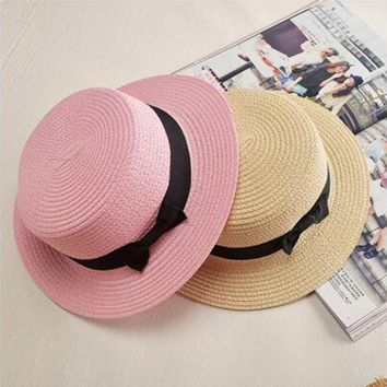 HEALMEYOU Lady Boater sun hat Ribbon Round Flat Top Straw Fedora Panama Hat summer caps for women straw hat women's hats gorras