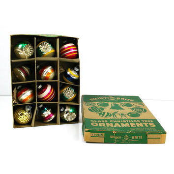 Vintage Shiny Brite box with assorted glass ornaments - Indents, bells, striped Christmas tree decorations