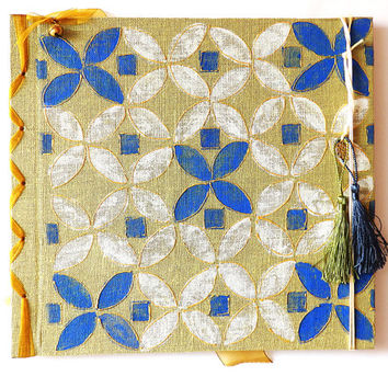 Linnen wedding Guest Book, handpainted gold, Weeding Memories Guest book, Moroccan style, Blue,Wedding Keepsake, Gift for them, Hand painted