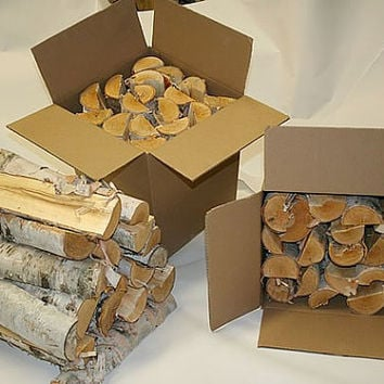 Split White Birch Logs for Firewood