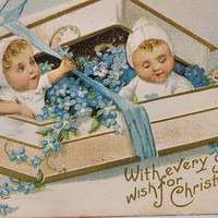 Christmas Postcard Golden Era 1900s Postcard Babies in a Box Possible Ellen Clapsaddle  Ephemera Antique Embossed Lithograph  Card