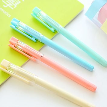 1 Pcs Cute Kawaii Candy Color Aihao 0.5mm Blue Black Ink Gel Pens Writing Kids Student School Office Supplies Stationery Blue