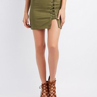 Lace-Up Detail Mini Skirt