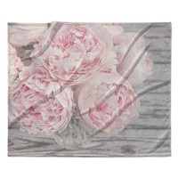 "Suzanne Harford ""Pink Peony Flowers"" Floral Photography Fleece Throw Blanket"