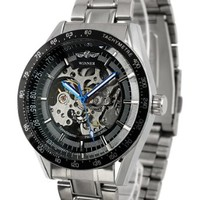 ESS Men's Black Bezel Skeleton Stainless Steel Automatic Wrist Watch WM174