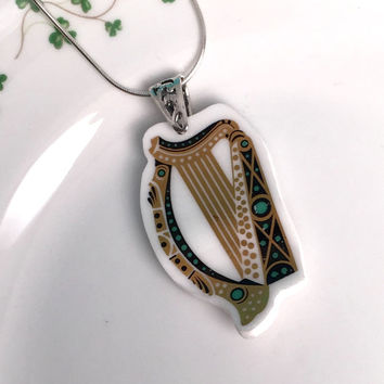 Broken China Royal Tara Irish Wedding Jewelry Sterling Silver, Harp Instrument, Pendant, Celtic Necklace, Vintage China, Gift from Ireland
