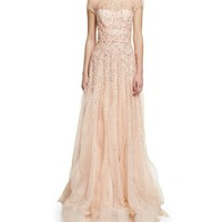 Monique Lhuillier Short-Sleeve Beaded Tulle Illusion Gown, Blush