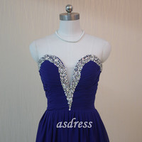 Long Chiffon Royal Blue Prom Dress,Sexy V-neck Prom Evening Dress,Sequins Dress 2015,Evening Dress,Evening Formal Party Dress,Prom Dresses