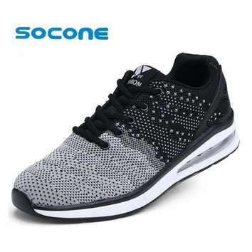 Socone Men Summer Athletic Running Shoes Lightweight Autumn Walking Shoes Lace-up Spor