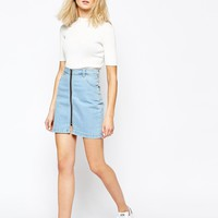 Good Vibes Bad Daze Zip Front Denim Mini Skirt at asos.com