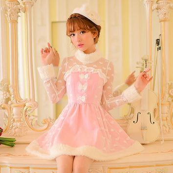 Princess sweet lolita pink dress Candy rain Bow lace decoration A-line Round collar Nail Bead Japanese design C16CD6126