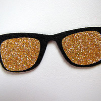 Iron On Felt Applique - Gold Glitter Sunglasses - 1 Dollar Shipping for ALL appliques & patches :)
