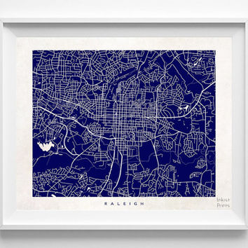 Raleigh, North Carolina, Wall Decor, Town, Illustration, Map, State, Print, Beautiful, Nursery, Poster, Room, Art, World, Street [NO 525]