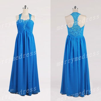 Blue Lace Applique halter Ruffled Strapless See-through Long Celebrity Dress, Chiffon Formal Evening Party Prom Dress New Homecoming Dress
