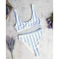kylie sporty swim top + banded high waist high cut cheeky bottom - separates - beach sky stripes
