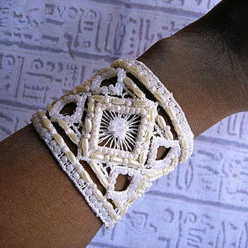 Wedding Bridal Cuff bracelet. Beaded lace cuff bracelet hand Embroidered wedding jewelry.