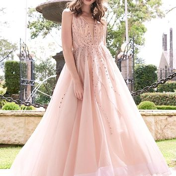 Tinaholy Couture T17111 Blush Pink Mesh Gown