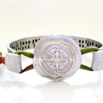 Secret Message Compass Bracelet, Nautical Jewelry, The Journey is Only, Stamped Jewelry, Hammered Texured, Customizable