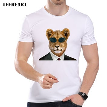 Men's Vintage Cool Glasses Leopard Printed T-Shirt Cool Summer