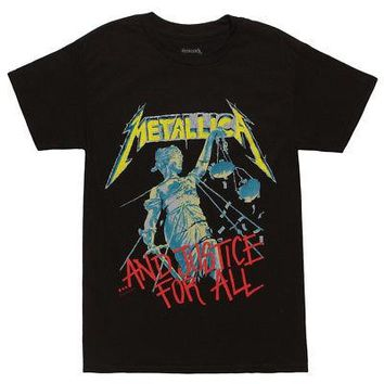 Metallica And Justice For All Album Color Licensed Adult T-Shirt - Black