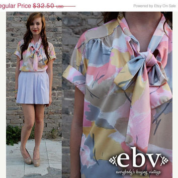 ON SALE Vintage 70's Ascot Bow Tie Secretary BLOUSE shirt Top