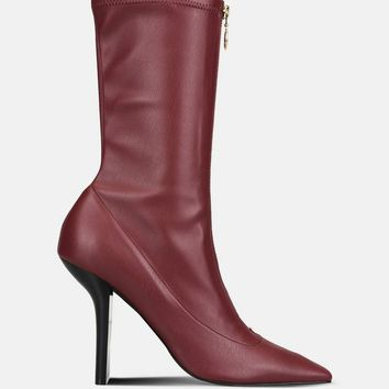 Bordeaux Matte Alter Nappa High Ankle Boots - Stella Mccartney