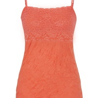 Lace Bodice Crinkle Cami - Living Coral