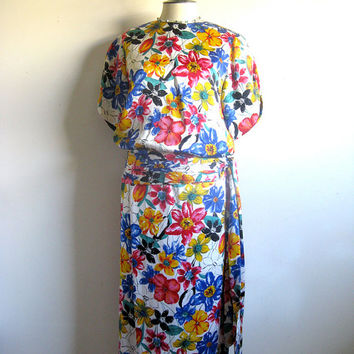 Albert Nipon Vintage 1980s Dress Floral Multi-color 2 pc Dress Bright Color Silk Outfit 4