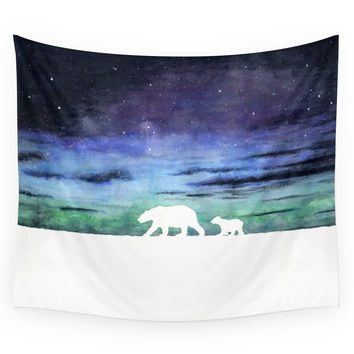 Society6 Aurora Borealis And Polar Bears white Ve Wall Tapestry
