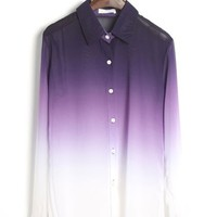 OASAP - Purple Gradient Long Sleeve Chiffon Blouse - Street Fashion Store