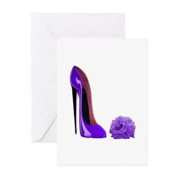 LILAC STILETTO SHOE AND ROSE GREETING CARD