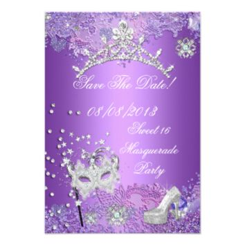 Save The Date Purple Sweet  Sixteen 16 Masquerade 3.5x5 Paper Invitation Card