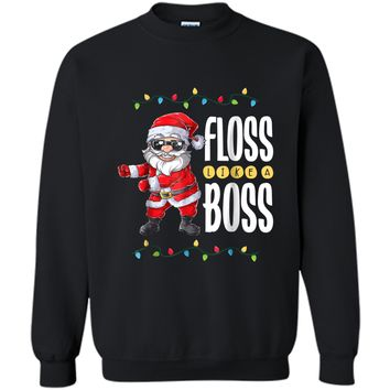 Santa Floss Like A Boss Christmas boys Flossing Xmas Printed Crewneck Pullover Sweatshirt