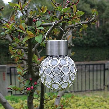 Solar Powered Hanging Sparkling Crystals Gazing Ball Landscape Lamp Garden Camping Tree Decoration Night Light 7 Color Changing