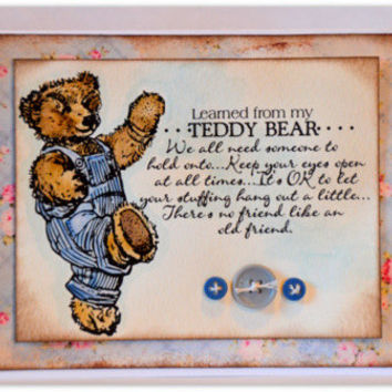 Thinking of You Greeting Card, Just Because Card, Friendship Teddy Bear Handmade Card, Hand Colored Paper Craft, Any Occasion Blank Card