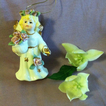 Angel Bell Ornament Vintage Autom Porcelain Angel Ornament Collectible Angel Bell China Floral Angel Gold Stars Christmas Angel Ornament